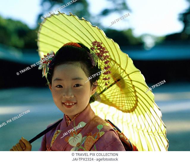 Festival for Seven, Five, Three Year Old Children (Shichi-go-san) / Girl Dressed in Kimono, Tokyo, Honshu, Japan