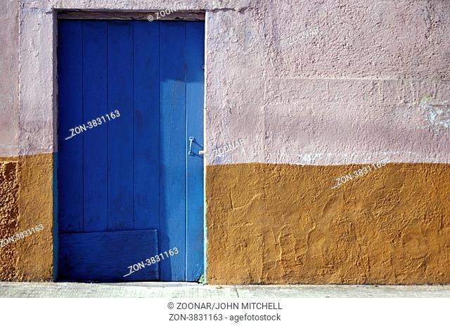 Blue door in San Miguel de Cozumel, Mexico