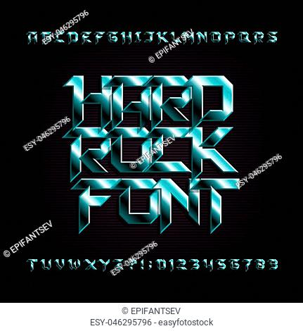 Hard rock alphabet font. Metal effect beveled letters, numbers and symbols. Stock vector typeface for your design