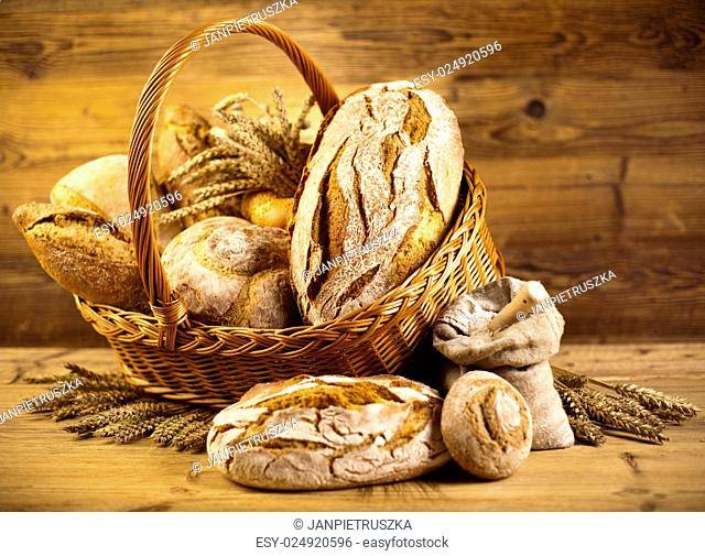 Traditional bread in wicker basket