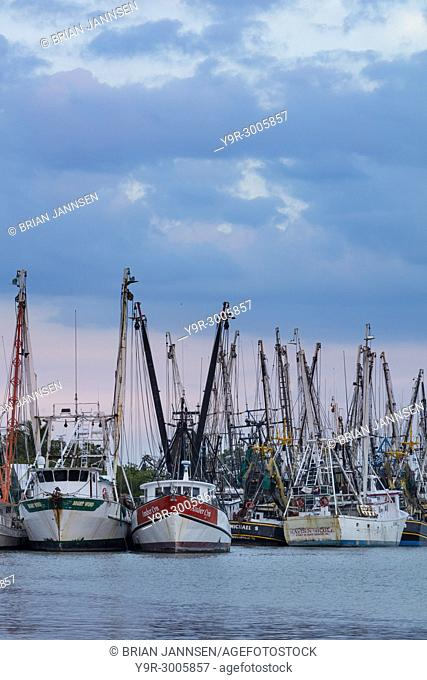 Commercial shrimp boats docked on San Carlos Island, Ft Myers, Florida, USA