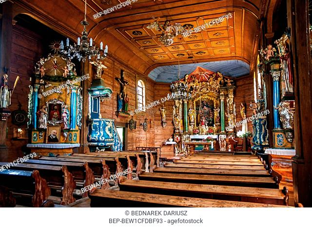 The interior of the wooden church Blessed Virgin Mary of the Assumption from 1743 in Czarlejno, Greater Poland voivodeship, Poland