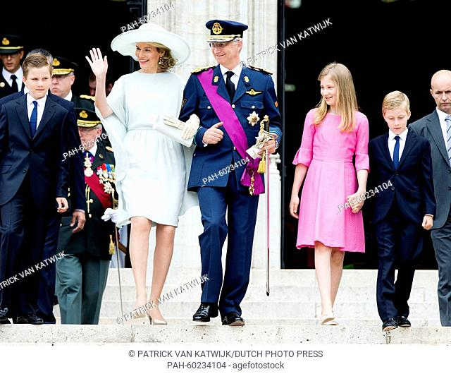 Prince Gabriel, Queen Mathilde of Belgium, King Philippe of Belgium, Crown Princess Elisabeth and Prince Emmanuel walk together after the Te Deum mass at the...