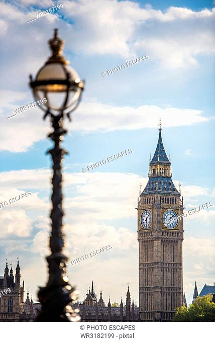 Lampposts on South Bank with The Houses of Parliament, London, England, United Kingdom, Europe