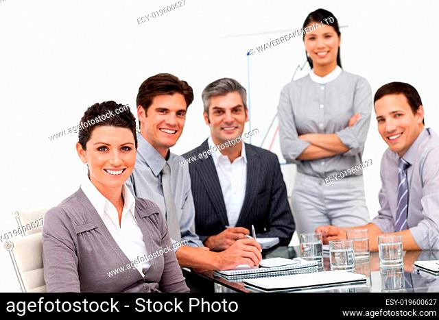 Portrait of a multi-ethnic business team having a meeting
