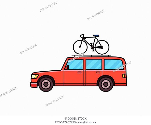 Red SUV car with bicycle on the roof trunk. Minivan, side view. Isolated image on white background. Vector illustration. Flat style