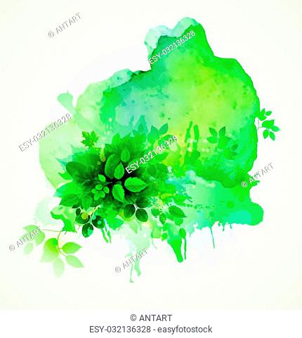 Green leaves composition. Watercolor abstract