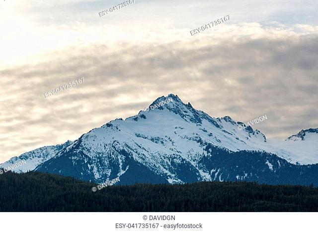 Tantalus Mountain Range in British Columbia Canada snow covered in winter closeup