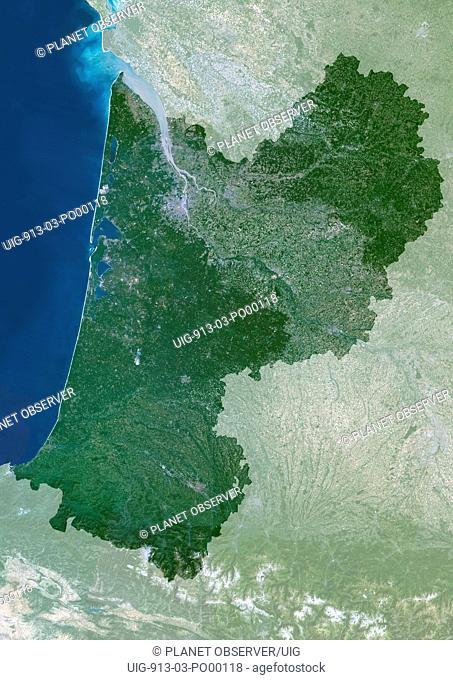 Aquitaine Region, France, True Colour Satellite Image With Mask. Aquitaine region, France, true colour satellite image with mask