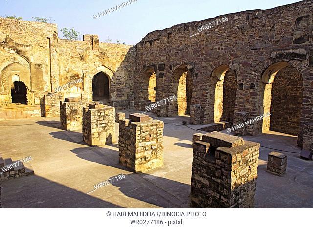 Ruins of Golconda fort built by Mohammed Quli Qutb Shah 16th century , Hyderabad , Andhra Pradesh , India
