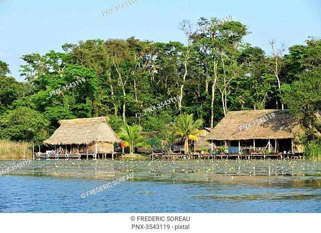 Stilt house in Rio Dulce, Guatemala, Central America