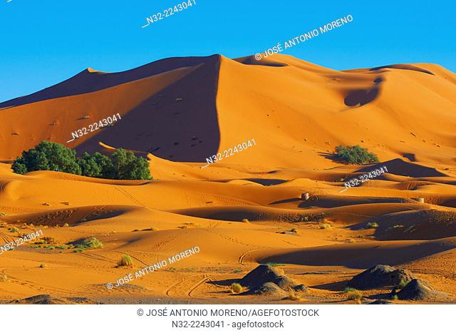 The Great Merzouga Dune, Erg Chebbi, Merzouga sand dunes, Sahara Desert, Morocco, Maghreb, North Africa