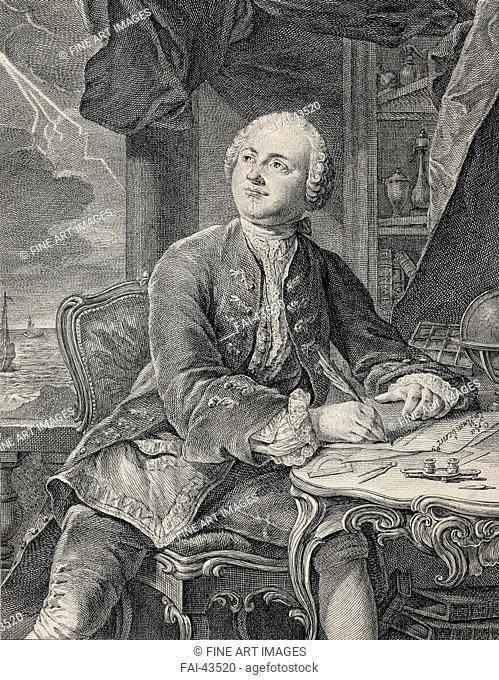 Portrait of Mikhail Vasilyevich Lomonosov (1711-1765) by Fessard, Étienne (1714-1777)/Copper engraving/Rococo/1757/France/State Hermitage, St