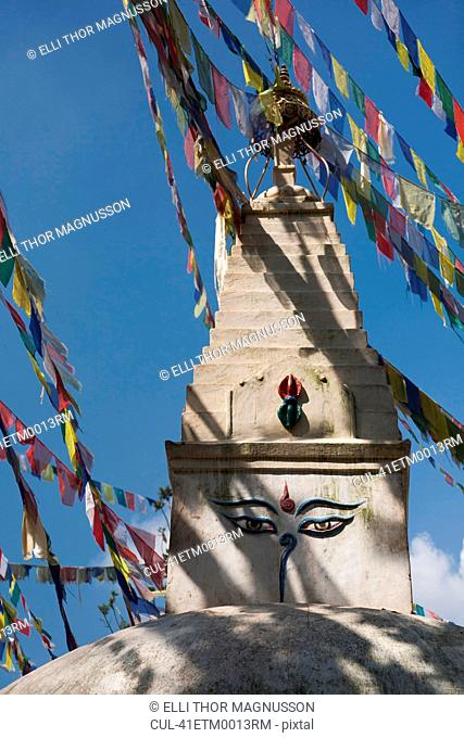 Prayer Flags On Temple Tower