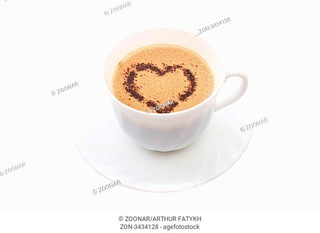 Cup of coffee with decoration in form heart