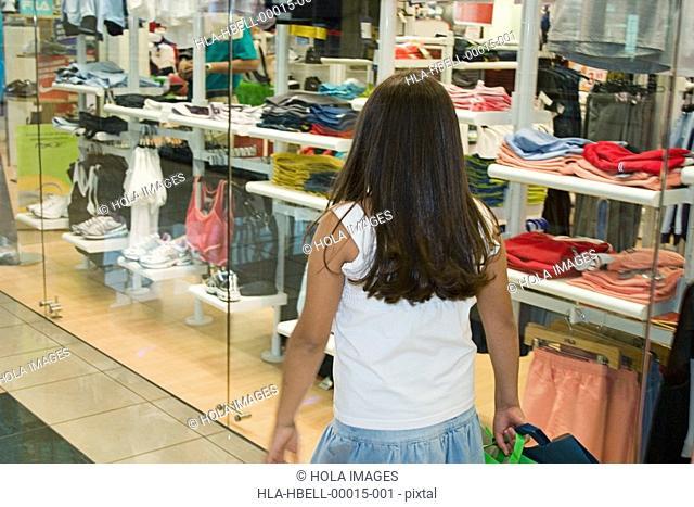 Girl shopping at mall