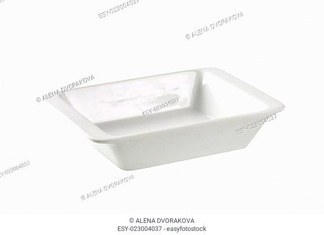Deep rectangular porcelain dish
