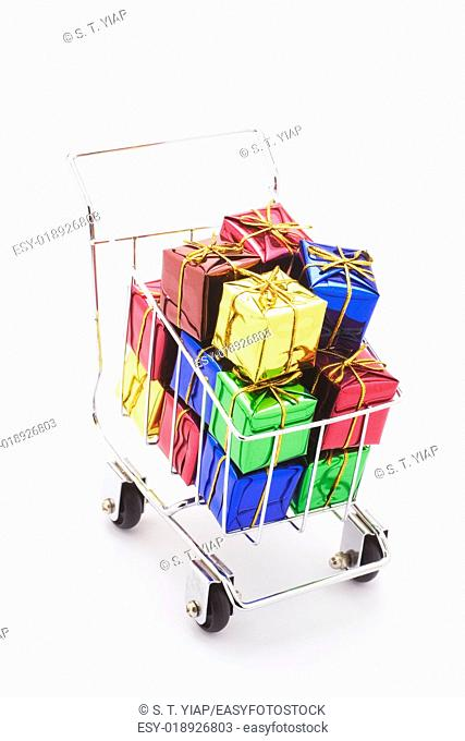 Gift Boxes in Miniature Shopping Trolley