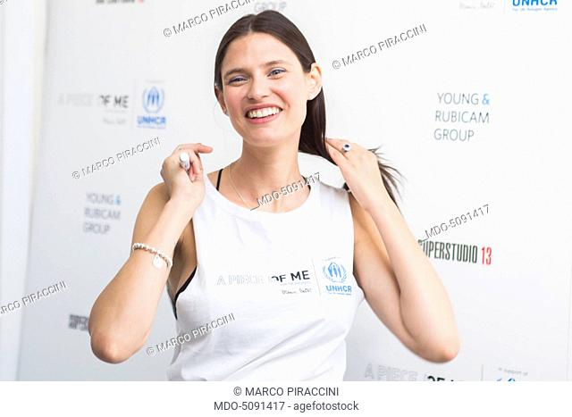 The top-model Bianca Balti auctioning her wardrobe at Superstudio 13. The proceeds of A piece of me for refugees will be devolved to the Office of the United...