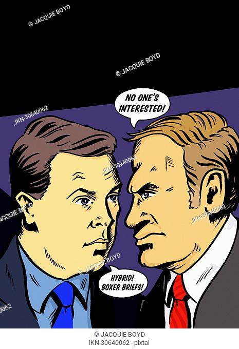 Businessmen arguing in speech bubbles