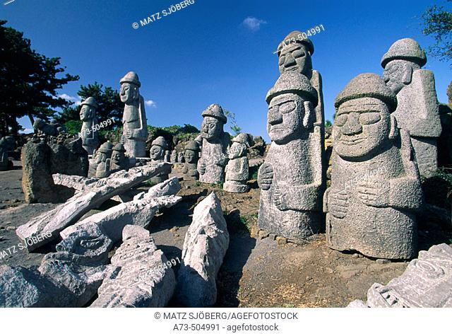 Harubang, the guardians of the islan. Jeju Island. Republic of Korea