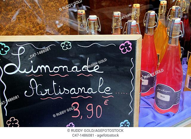 Artisan lemonade at a shop on rue Quimcampoix, Paris, France
