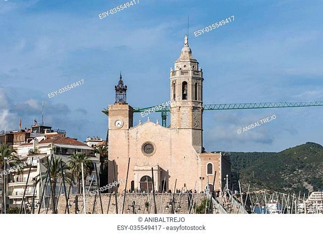 Sant Bartomeu i Santa Tecla church at Sitges coast shore, Spain