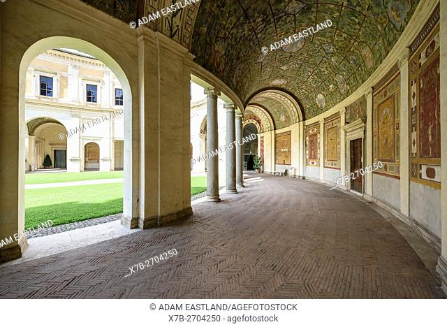 Rome. Italy. National Etruscan Museum of Villa Giulia. . . Villa Giulia, built 1551-1553, the semicircular loggia at the rear of the building by Giacomo Barozzi...
