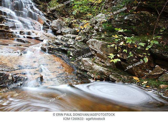 Crawford Notch State Park - Silver Cascades in the White Mountains, New Hampshire USA during the autumn months