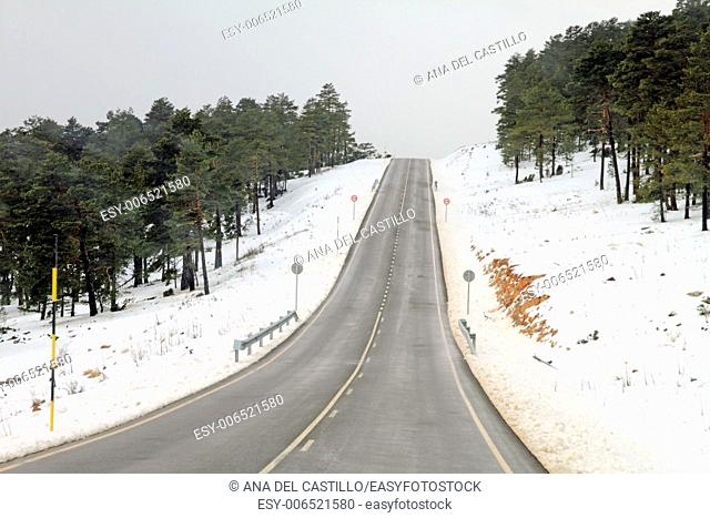 Winter landscape Gudar mountains in Teruel Aragon Spain