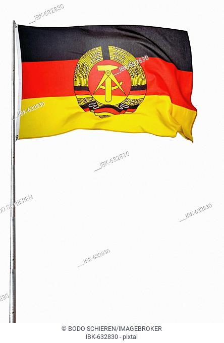 GDR flag flapping on a flagpole