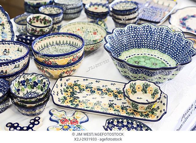 Detroit, Michigan - Polish pottery on sale at the annual Pierogi Festival sponsored by Sweetest Heart of Mary Catholic Church