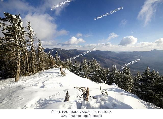 Scenic view from the summit of Mount Tecumseh in Waterville Valley, New Hampshire USA during the winter months