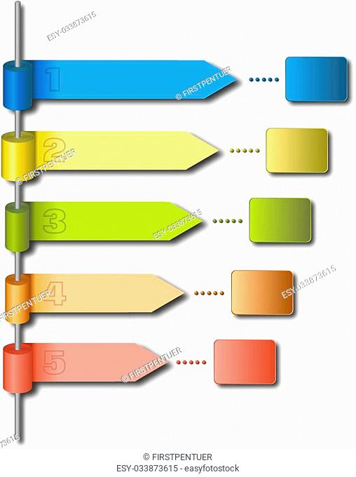 Rolls of colored papers at metal rod as infographic template