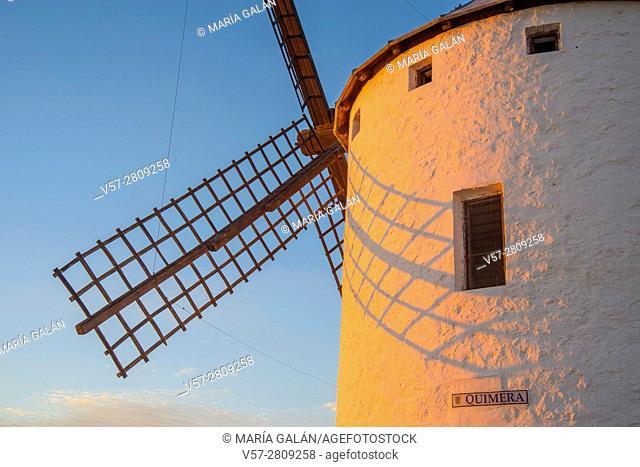 Windmill called Quimera at dusk. Campo de Criptana, Ciudad Real province, Castilla La Mancha, Spain