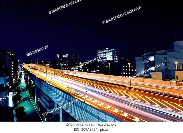 Highway at night, Ninhonbashi, Tokyo, Japan