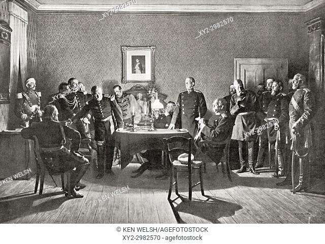 The surrender of Napoleon III to the Prussians after the Battle of Sedan during the Franco-Prussian War aka Franco-German War in 1870
