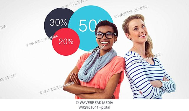Creative businesswoman with arms crossed by percentages