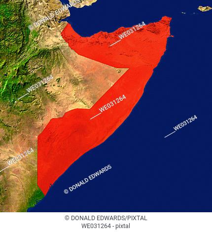 Highlighted satellite image of Somalia