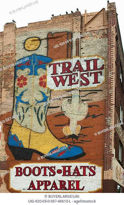 Trail West Boots, Hats, Apparel, mural in downtown Nashville, Tennessee 2006