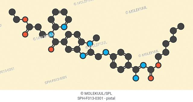 Dabigatran anticoagulant drug (direct thrombin inhibitor) molecule. Stylized skeletal formula (chemical structure). Atoms are shown as color-coded circles:...
