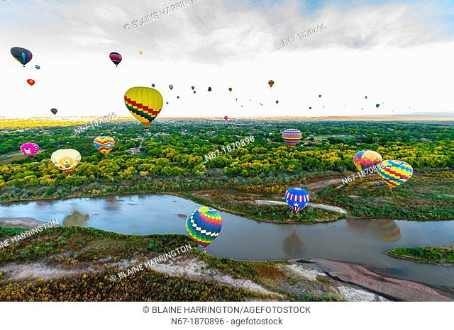 Hot air balloons flying low over the Rio Grande River just after sunrise, Albuquerque International Balloon Fiesta, Albuquerque, New Mexico USA