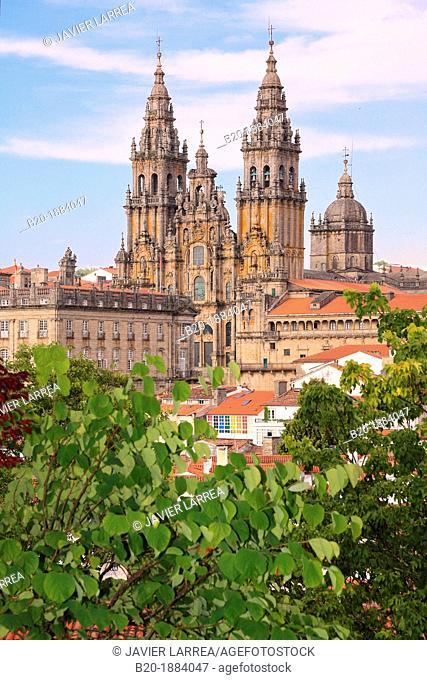 Cathedral from Alameda park, Santiago de Compostela, A Coruña province, Galicia, Spain