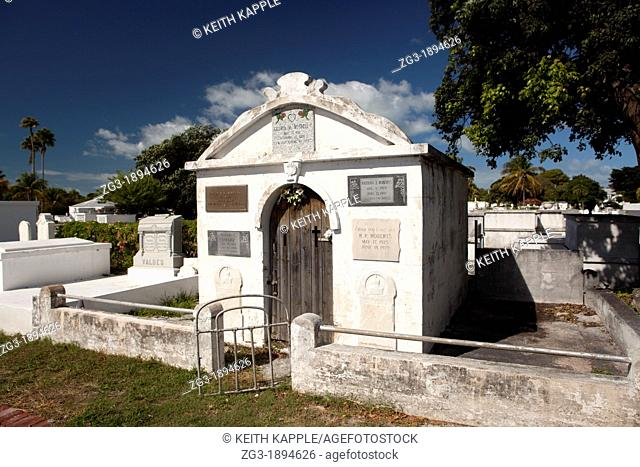 Grave mausoleum at Key West Graveyard, Key West, Florida, USA