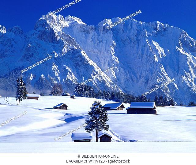 Oberbayern, Winterlandschaft bei Mittenwald