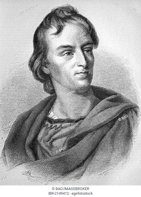 Johann Christoph Friedrich von Schiller, 1759-1805, German poet, philosopher and historian, historic wood engraving, ca. 1880