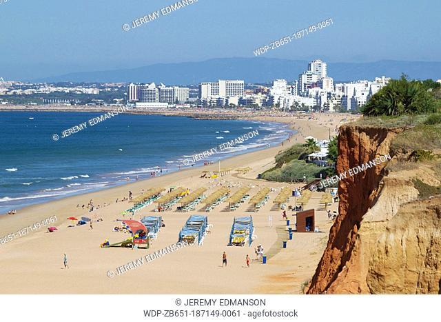 Beach, Vale do Loboand distant Quarteira, Algarve, Portugal