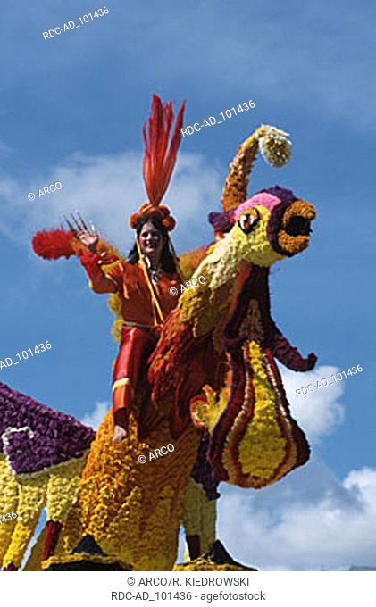 Flower parade Battle of Flowers St. Helier Jersey Channel Islands Great Britain