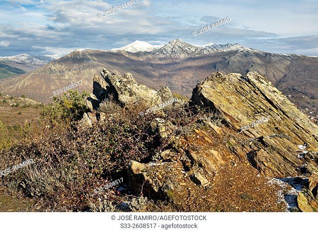 Santuy and Cerron peaks in the Sierra Nortefrom the Bañaderos road. Montejo de la Sierra. Madrid. Spain. Europe