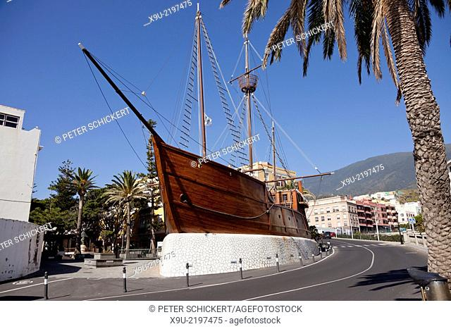 replica of Christopher Columbus ship Santa Maria in Santa Cruz de La Palma, capital of the island La Palma, Canary Islands, Spain, Europe